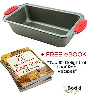 "Premium Non-Stick Steel 8.5-Inch Loaf Pan by Boxiki Kitchen | Professional No-Stick Bread Mold for Baking Bread, Meatloaf, Pound Cake | Bread Pan Mold 8.5"" x 4.5"" x 2.75"", w/ Red Silicone Handles"