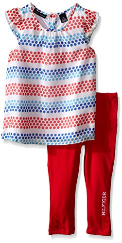 Tommy Hilfiger Big Girls' Printed Chiffon and Red Jersey Leggings, Red, 24 Months