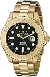 Invicta Men's 15191SYB Pro Diver Swiss Quartz Carbon Fiber Dial Gold-Tone Watch with Impact Case