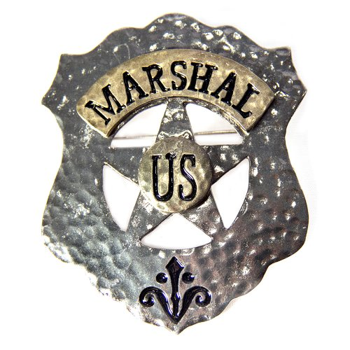 HMS U.S. Marshal Badge Metal-Pin Back, Silver, One Size