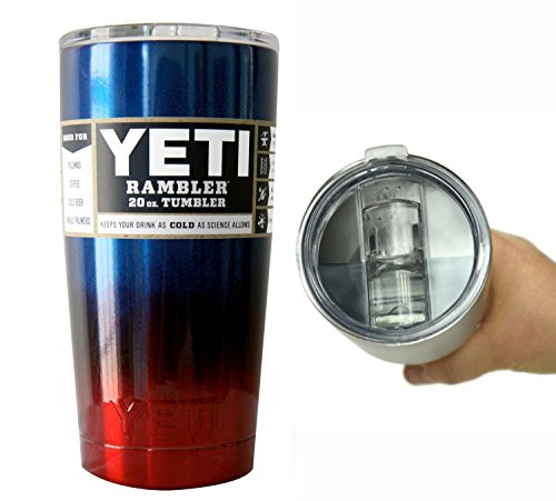 YETI Coolers 20 oz (20oz) Powder Coated Rambler Tumbler Cup with Extra Spill Proof Lid - Keeps your 20oz drink cold or hot for hours (Blue Red Ombre Fade)