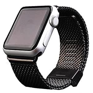 Stainless Steel Watch Wristband With Metal Clasp Replacement Band For 38mm All Version Apple Watch (YESOO Retail Packaging - 180 Days Warranty) (Black - 38mm)