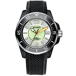 JIUSKO Deep Sea Series Men's Automatic 24 Jewel Black Silicone Dive Watch 73LSB0102