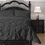 Emerson 4-Piece Pinch Pleat Puckering Comforter Mini Set, King, Charcoal
