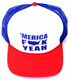Merica F*ck Yeah Hat– Back To Back Champs– Funny Trucker Hat! (Adjustable, Red/White/Blue Merica) thumbnail