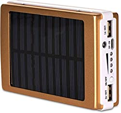 CallOne Turbo Solar Charging Power Bank 13000 mAh with LED Torch Light (Golden Color)