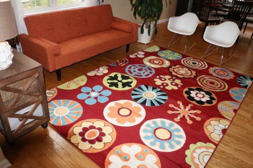 New City Brand New Kids Playful Contemporary Red Yellow Green Orange Light Blue Modern Circles Area Rug 4'3 x 5'6