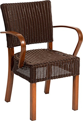 Dorset Aluminium Frame Armchair Teak With Brown Weave 85cm in Height, 57cm Deep, 45cm to Seat and 56cm Wide (2)