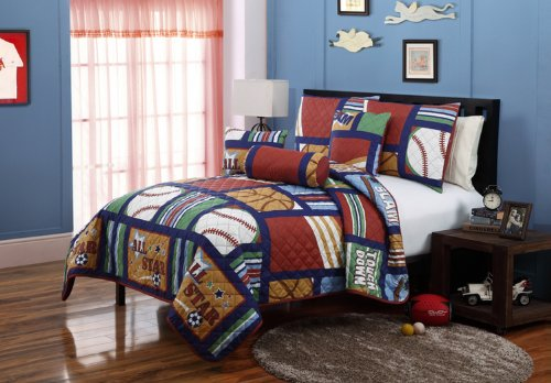 VCNY Cali Collection All-Star 5-Piece Quilt Set, Twin (Nv Cali compare prices)