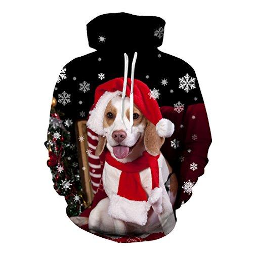 uideazone 3d stampa brutto Natale Felpa con cappuccio pantaloni Casual felpa con cappuccio christmas3 X-Large
