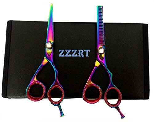 Zzzrt Zr-3000 J2 Japanese Steel Professional Razor Edge Titanium Hairdressing Scissors And Hair Thinning Scissors/Shear Set 5.5 Inch (14Cm) Diamond Screw + Free Rexine Scissors Case