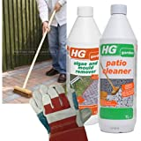 HG Patio Cleaning Kit (contains: HG Hagesan Patio Cleaner, HG Hagesan Algae and Mould Remover, Deck Scrubber and FREE Leather Gloves)