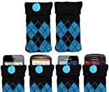 ITALKonline UNIVERSAL BLUE BLACK CHECKER Sock Case Cover Pouch With Detachable Strap Doro PhoneEasy 506