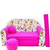 Mini café sofá infantil con diseño de café con diseño de bebé sofá juego de cojines para colchón suave de terciopelo diferentes coloures H31 rosa Kinderball Talla:59/98/48cm