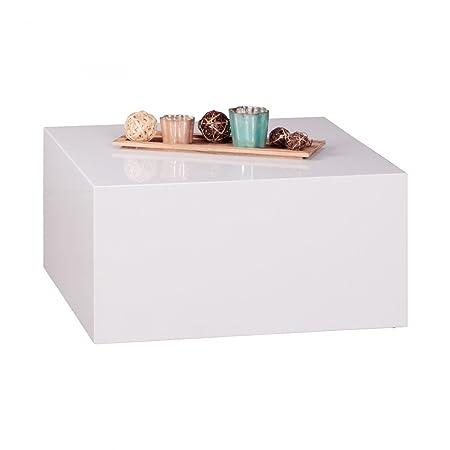 WOHNLING Couchtisch Mono-bloc MDF Holztisch weiß 60 cm breit Design Wohnzimmer-Tisch modern Beistelltisch quadratisch Cube Hochglanz Wohnzimmermöbel stylisch Lounge hochwertig Holztisch glönzend glatt