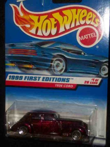 1999 First Editions #1 1936 Auburn Cord Lace Wheels Small Rear Windows 1st Base #649 Condition Mattel Hot Wheels - 1