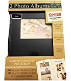 Old Town 2-Pack Handcrafted Bonded Leather Photo Album With Large Window Holds 300 Photos Each, Black