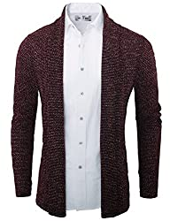 Tom's Ware Mens Classic Slim Fit Knit Open-Front Cardigan TWNR210G-1508-WINE-US S/M