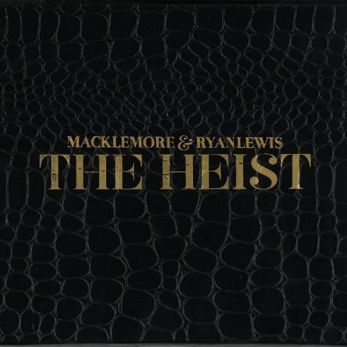 cover for The Heist by Macklemore and Ryan Lewis, text and lizard or snake skin patterning in gold outlines on black background