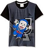 Ninja Hattori Boys' T-Shirt (HST-2130_Black_9 - 10 years)