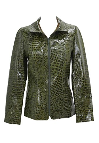 New Bergama Glossy Olive Reptile Embossed Leather Jacket,Small