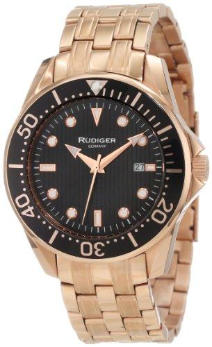 Rudiger Men's R2000-09-007 Chemnitz Rose Gold IP Coated Rotating Bezel Black Luminous Dial Watch