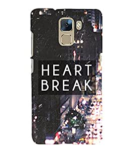 Fuson Premium Back Case Cover Broken heart With Multi Background Degined For Huawei Honor 7