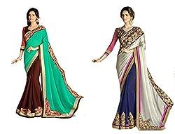 Pragya creations Women's Chiffon Saree (Prag21_Multi)-pack of 2