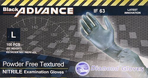 Diamond Gloves Black Advance Nitrile Examination Powder-Free Gloves, Heavy Duty