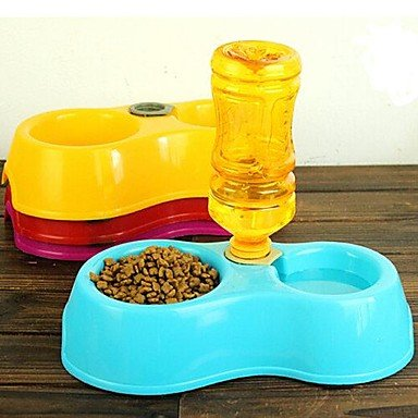 Zcl Automatic Water And Food Double Basin Bowl For Pets , Yellow