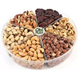 Oh! Nuts Freshly Roasted Holiday Nuts Gift Basket, Nut Gift Tray 6-section Medium Gift Tray