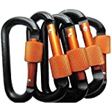 LeBeila Aluminum Carabiner Heavy Duty Climbing Hooks D Shape Buckle Pack Spring Snap Keychain Clip with Screwgate Locking-Outdoor Camping D-ring Carabiners Hook (Black/Orange-5PCS)