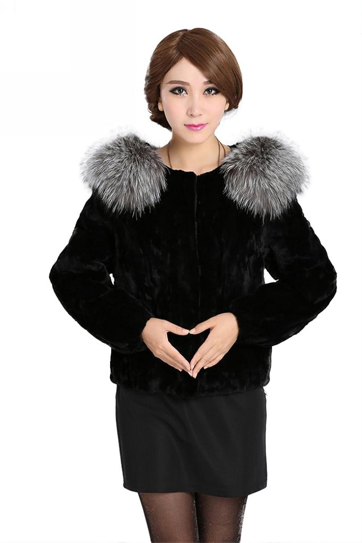 Queenshiny Damen's 100% Echte Rex Kaninchen Pelz Mantel Jacke Mit Fuchs Pelz Kragen