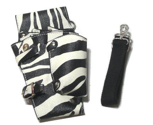 T&Y シザーケース 美容師 トリマー プロ用 5丁入 レザー シザーバッグ ケース ホワイト ブラック ゼブラA TYー14ー002