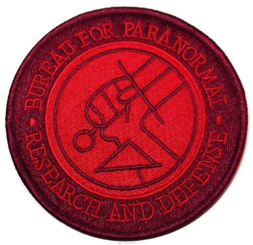 """Hellboy Bureau For Paranormal R & D Agent 4"""" Diameter Embroidered Patch front-504293"""