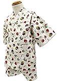 エビス柄 ベージュ [110サイズ] KOMESICHI オリジナル子供甚平 綿100% 肌着 パジャマ 寝巻き