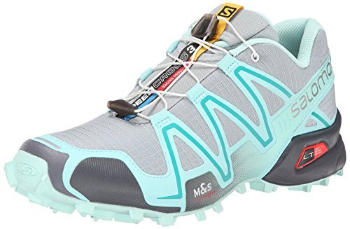 Salomon Women's Speedcross 3 Trail Running Shoe, Light Onix/Topaz Blue/Dark Cloud, 7 M US