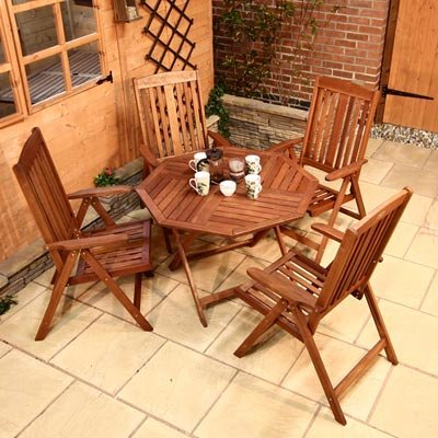 BillyOh Prestige 1m Octagonal 4 Seater Reclining Wooden Garden Furniture Set