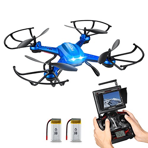 NEW Feature - Hover Drone, Potensic® F181DH 5.8GHz FPV Monitor 4CH 6-Axis Gyro RC Quadcopter Drone with HD Camera, 3D Flips Function - Blue
