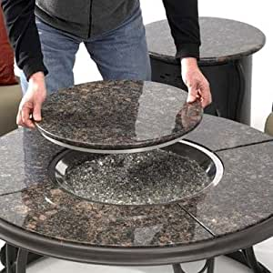 Fire pit table with granite top and lazy susan for Amazon prime fire pit