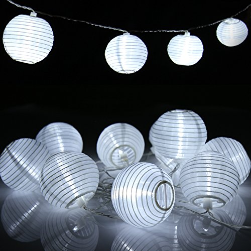 Jago Catena lanterne ghirlanda lanterne lampioni luce solare colore bianco 10,7 m