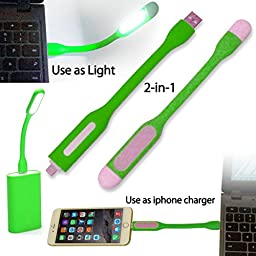 AmaziPro8 2-in-1 Mini USB LED Light + Lightning Cable for iPhone6, iPhone6 Plus and iPhone 5 series. LED USB Lamp light Charge Sync Cable (iPhone Lightning) For PC, Laptop, Powerbank. Reading Lamp Light Perfect for indoor or Outdoor use (GREEN)