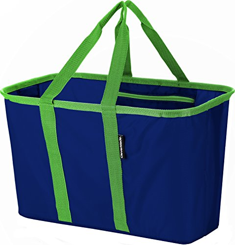 CleverMade SnapBasket Collapsible Shopping Tote, 30 Liter Soft Sided Bag, Deep Blue/Kelly Green
