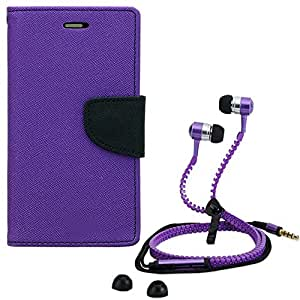 Aart Fancy Diary Card Wallet Flip Case Back Cover For Mircomax A116-(Purple) + Zipper earphones/Hands free With Mic *Stylish Design* for all Mobiles By Aart store