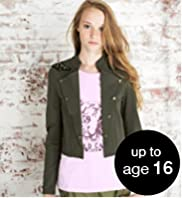 Girls' Limited Funnel Neck Panelled Military Jacket
