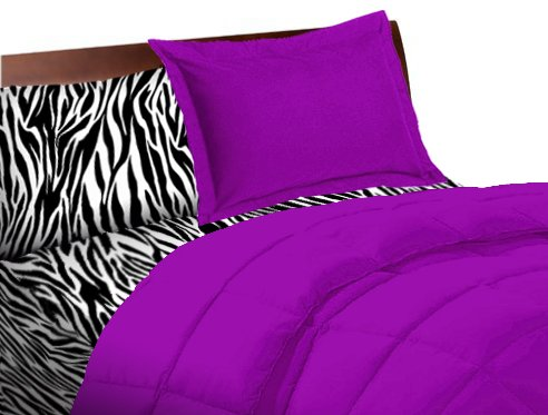5 Piece Purple Zebra Twin Extra Long Bedding Set front-106686