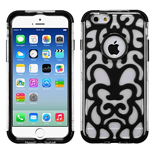 Apple Iphone 6 T Clear Electric Black Brick Hybrid Glo Cover Snap On Hard Case Cell Phone Shield Protector Shell From [Accessory Library]