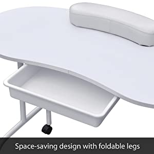 Yaheetech White Foldable Manicure Nail Table Station Desk Portable Spa Beauty Salon Equipment with Client Wrist Pad and Carrying Case (Color: Just as the picture show, Tamaño: 37 x 17.3)