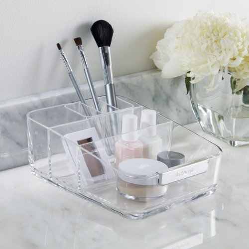 Small Acrylic Cosmetics Organizer With Removable Compartment - U.S. Acrylic® Signature Collection