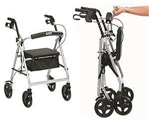 Ultra lightweight folding rollator wheeled walking frame